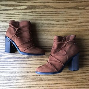 06e350e77dd Bamboo Strappy Chunky Heel Brown Suede Ankle Boots